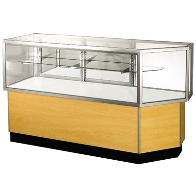 "Sturdy Store Displays Streamline 38"" x 68"" Half Vision Corner Combination Showcase with Panel Back"