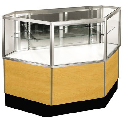 "Sturdy Store Displays Streamline 38"" x 34"" Half Vision Inside Corner Showcase with Mirror Back"