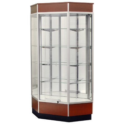 "Sturdy Store Displays Streamline 34"" x 18"" Front Opening Inside Corner Trophy Case with Glass Back"