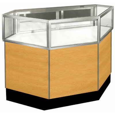 "Sturdy Store Displays Streamline 38"" x 42"" Jewelry Vision Inside Corner Showcase with Panel Back"