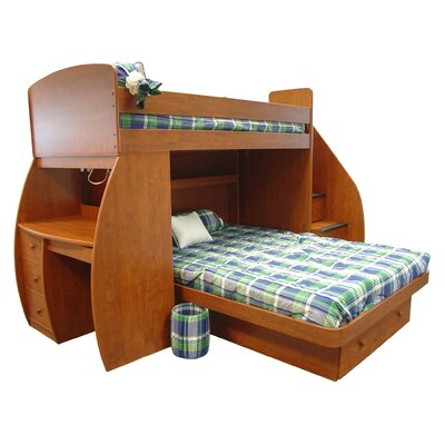 Berg Furniture Sierra Twin over Full L-Shaped Bunk Bed with Desk and Storage