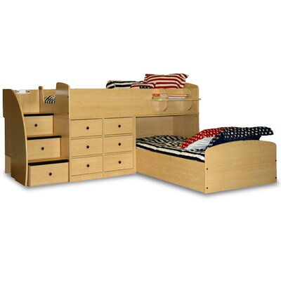 Berg Furniture Sierra Captain L-Shaped Captain Bed with Stairs and Storage
