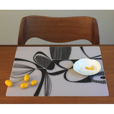 Modern-Twist Matrix Placemat in Black on Clear Base