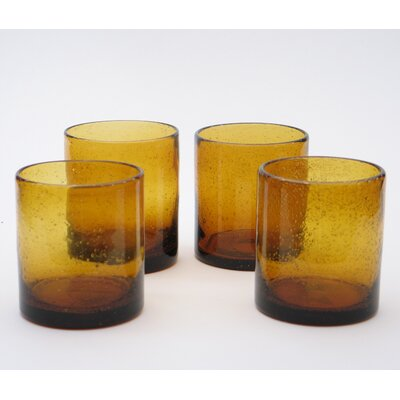 Certified International Bubble Amber Double Old Fashion (Set of 4)