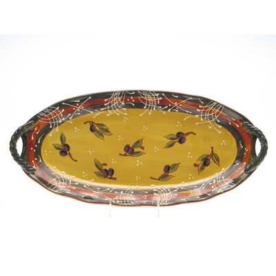 "Certified International French Olives Fish 20.5"" Oval Platter"