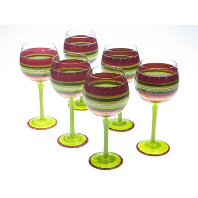 Certified International Hot Tamale Hand Painted Wine Glass (Set of 6)