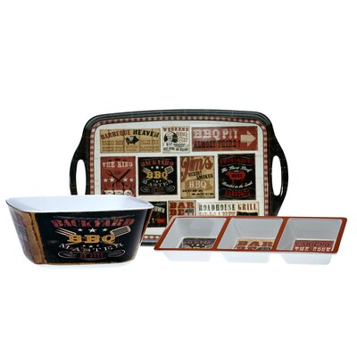 Certified International Backyard BBQ by Pela Studios 3-Piece Serving Set