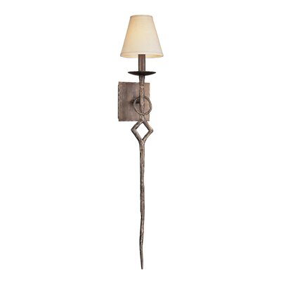 Troy Lighting Pompeii One Light Wall Sconce with hardback Linen in Pompeii Silver
