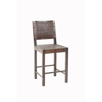 "William Sheppee Saddler 24"" Woven Leather Counter Stool in Walnut Stain"