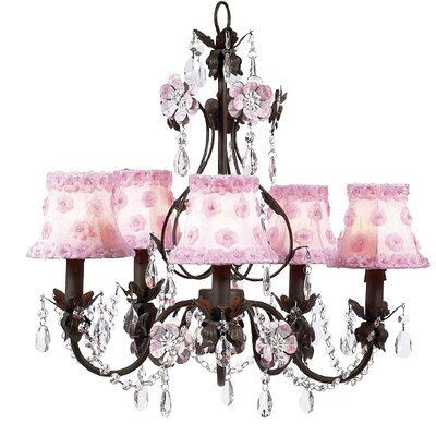 Jubilee Collection Flower Garden 5 Light Chandelier with Plain Shade