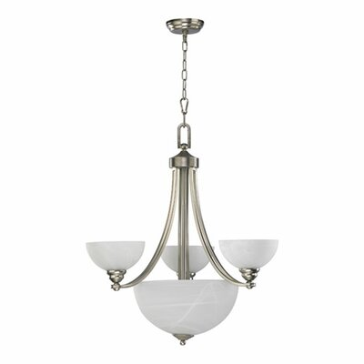 Quorum Hemisphere 6 Light Bowl Chandelier in Satin Nickel