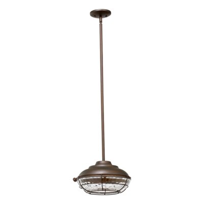 Quorum Hudson One Light Outdoor Pendant in Oiled Bronze