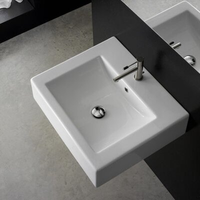 "Scarabeo by Nameeks Square 20.1"" x 18.1"" Above Counter Bathroom Sink in White"