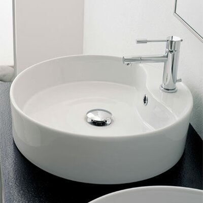 Scarabeo by Nameeks Geo Above Counter Single Hole Bathroom Sink in White