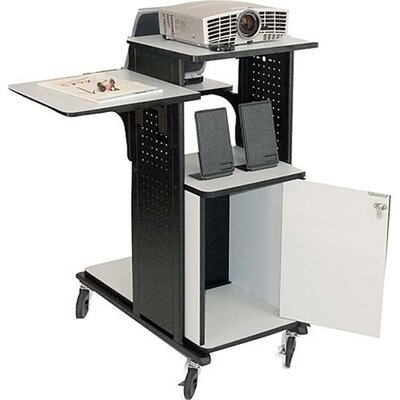 H. Wilson Company 4-Shelf Presentation Station with Security Cabinet in Black / Gray
