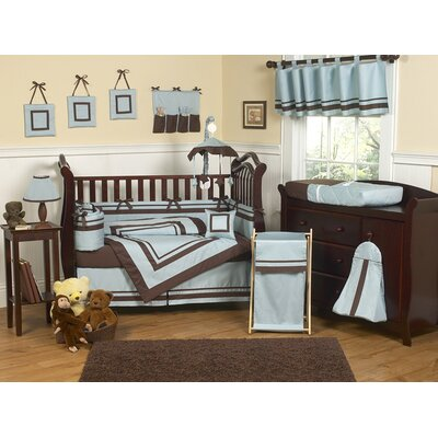 Sweet Jojo Designs Blue and Chocolate Hotel Baby Crib Bedding Collection