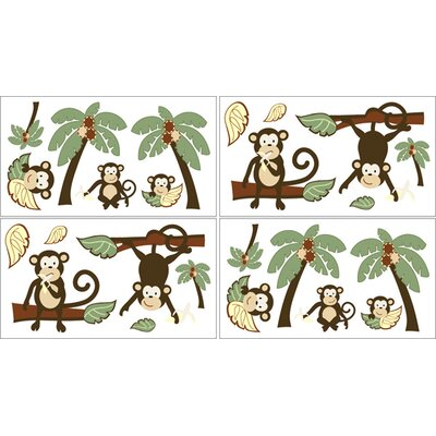 Sweet Jojo Designs Monkey Collection Wall Decal Stickers