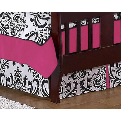 Sweet Jojo Designs Hot Pink, Black and White Isabella Toddler Bed Skirt
