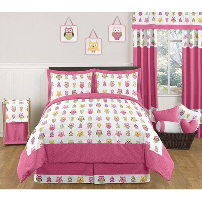 Owl Pink Collection 3pc Full/Queen Bedding Set