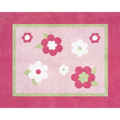 Flower Pink and Green Collection Floor Rug