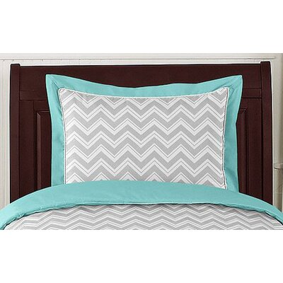 Zig Zag Turquoise and Gray Collection Standard Pillow Sham
