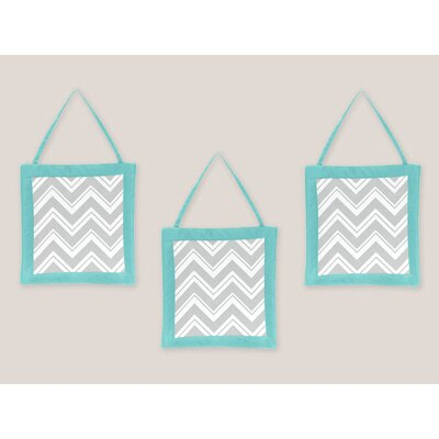 Zig Zag Turquoise and Gray Collection Wall Hangings