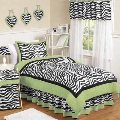Sweet Jojo Designs Zebra Lime Collection 4pc Twin Bedding Set