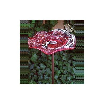 Echo Valley Illuminary Red Swirl Birdbath with KD Stake