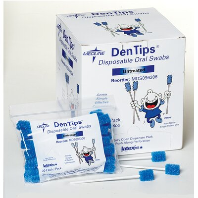 Medline Dentips Untreated Disposable Oral Swab in Blue