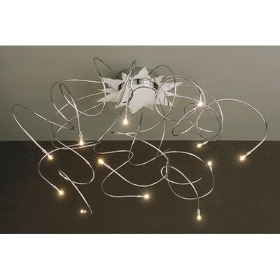 Lucifero Illuminazione Faal Small 12 Lights Semi Flush Ceiling Lamp in Chrome