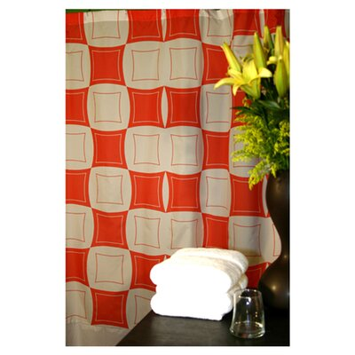 Plush Living Monogram Shower Curtain in Coral and White