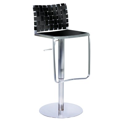 Chintaly Imports Adjustable Height Swivel Stool in Black Rgn. Leather