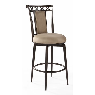 Chintaly Imports Swivel Memory Return Stool with High Cushioned Back in Taupe