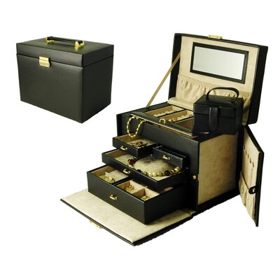 Ladies Classic Large Jewelry Box with Side Doors in Black