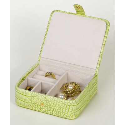 Budd Leather Croco Grain Jewelry Boxes Calf Stud / Ring Box in Lime