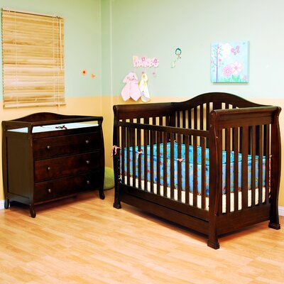 AFG Furniture Athena Spring Convertible Crib with Toddler Rail and Grace Changing Table in Espresso