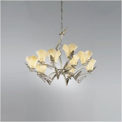 Zaneen Lighting Rovigo Nine Light Chandelier in Weathered Silver