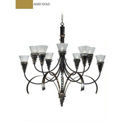 Zaneen Lighting Siberia Ten Light Chandelier in Aged Gold