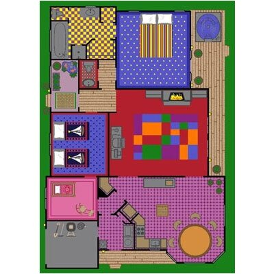 Joy Carpets Educational Creative Play House Kids Rug