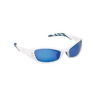 Aearo Technologies Safety Glasses With Glacier White Frame, Blue Mirror Lens, Lanyard And Micro Fiber Bag