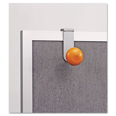 Alba, Inc Cubicle Garment Peg, 1 Hook, 2-19/50 x 7-8/9 x 4-31/50, Metallic Grey
