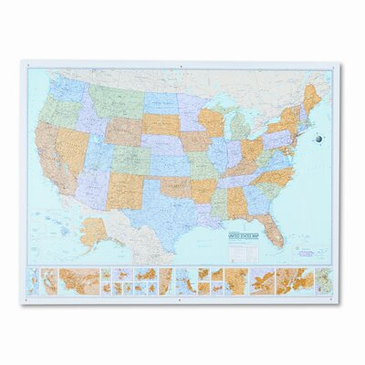 American Map Company Rand Mcnally M-Series Full-Color Laminated United States Wall Map, 50 X 32