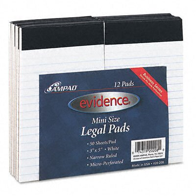 AMPAD Corporation Evidence Perforated Top, Narrow/Red Margin Rule, 3 x 5, White, 50 Sheets, 12-Pack