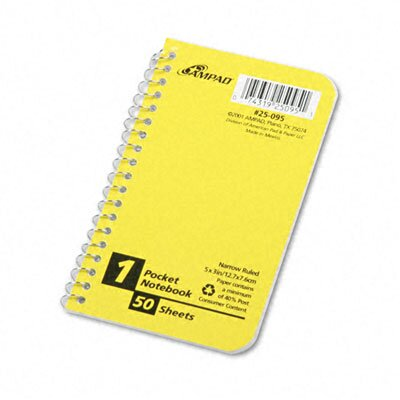 AMPAD Corporation Wirebound Pocket Memo Book, College/Narrow Rule, 5 x 3, WE, 50 Sheets/pad