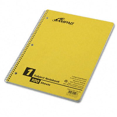 AMPAD Corporation Wirelock Subject Notebook, College/Med Rule, 8-1/2 x 11, WE, 100 Sheets