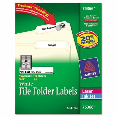 Avery Consumer Products Permanent Self-Adhesive Laser/Inkjet File Folder Labels, 1800/Box