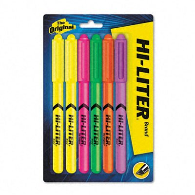 Avery Consumer Products Fluorescent Highlighter, Chisel Tip, Fluor GN, OE, PK, PE, 2-YW, 6/set