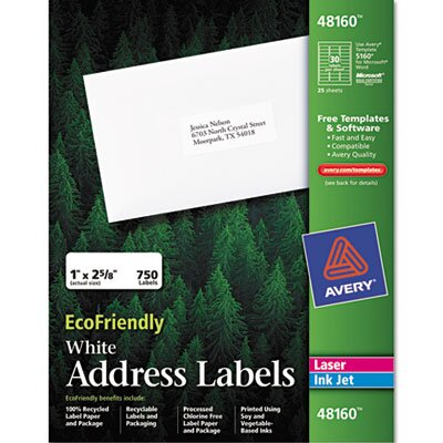 Avery Consumer Products Eco-friendly Labels, 1 x 2 5/8, White, 750/Pack
