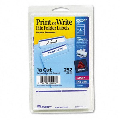 Avery Consumer Products Adhesive File Folder Typewriter Labels, 3-7/16 x 15/16, Purple, 252/Pack