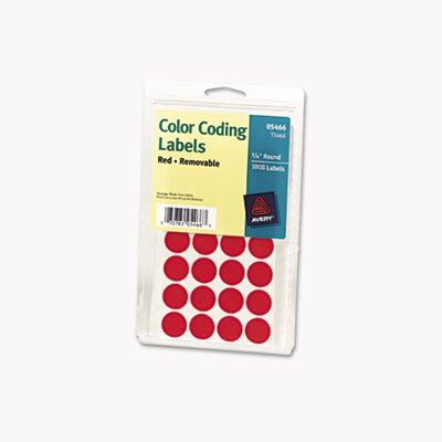 Avery Consumer Products Print/Write Self-Adhesive Removable Labels, 3/4 dia, Red, 1008/Pack